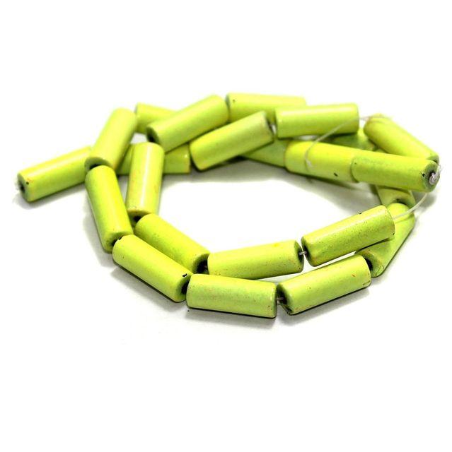 5 Strings Glass Tube Beads Yellow 16x6mm