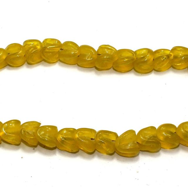 5 strings of Twisty Glass Beads Yellow 12x8mm