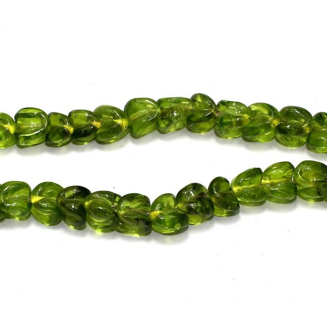 5 strings of Twisty Glass Beads Peridot 12x8mm