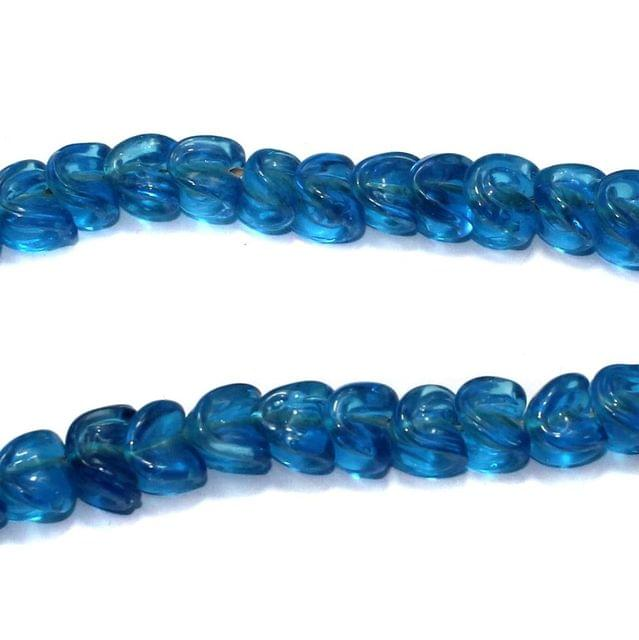 5 strings of Twisty Glass Beads Blue 12x8mm