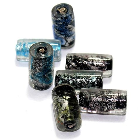 20 Silver Foil Tube Beads Assorted 22x12mm