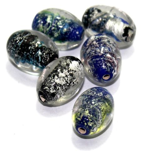 20 Silver Foil Oval Beads Assorted 20x14mm