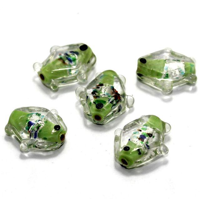 20 Silver Foil Fish Beads Peridot 20mm