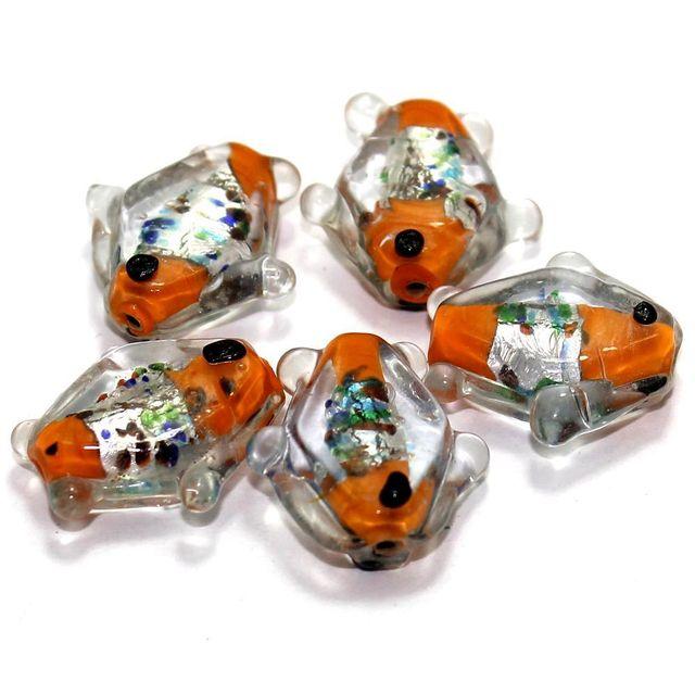 20 Silver Foil Fish Beads Orange 20mm