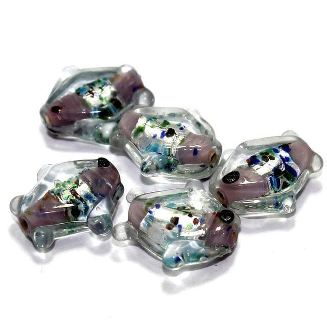 20 Silver Foil Fish Beads Purple 20mm