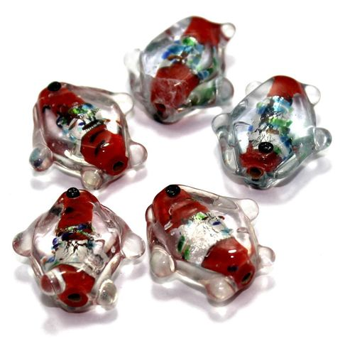 20 Silver Foil Fish Beads Dark Red 20mm
