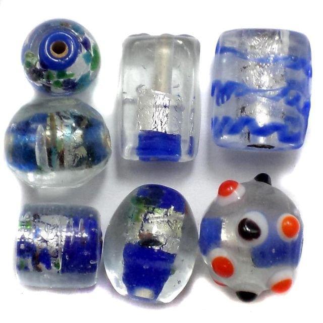 60+ Silver Foil Beads Blue 8-22mm