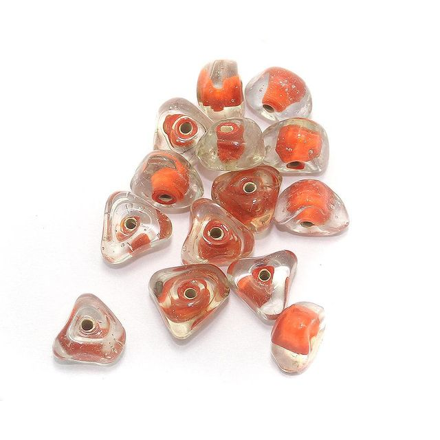 45+ Tikona Beads Inside Color Orange 12mm