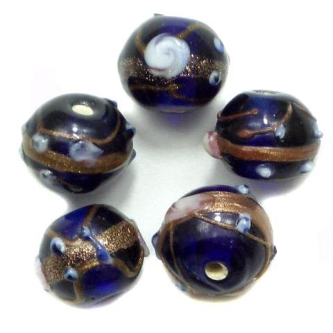 20 Wedding Cake Round Beads Blue 12mm