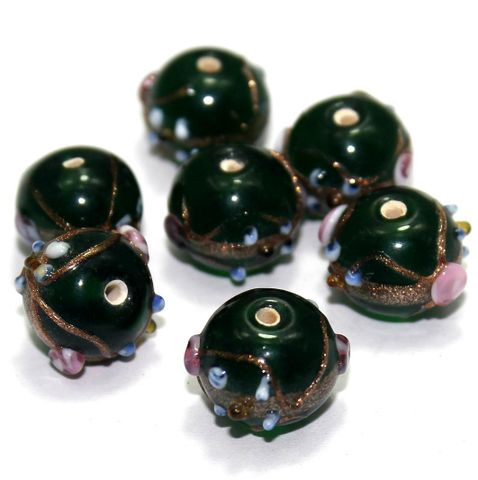 20 Wedding Cake Round Beads Green 12x15mm