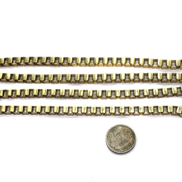 Metal Box Chain Golden (Link size 6mm ) 1 Mtr.
