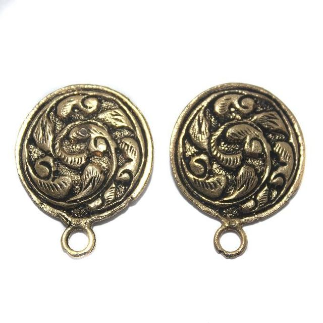 2 Pair German Silver Antique Golden Round Earring Component 20mm