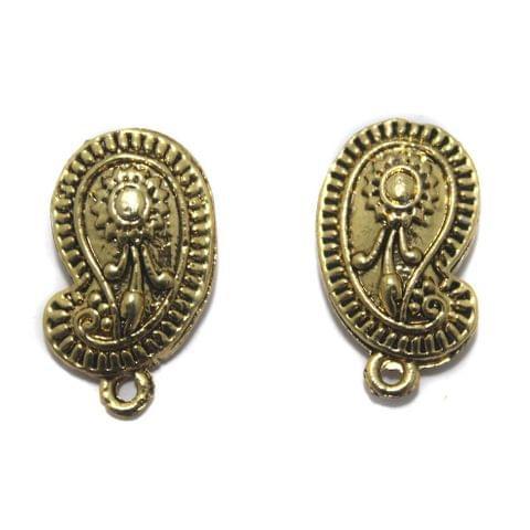 5 Pair German Silver Earring Component Golden 20x13mm