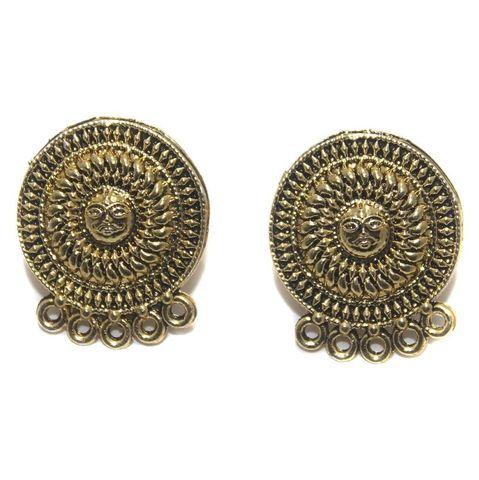 2 Pair German Silver Earring Component Golden 20mm