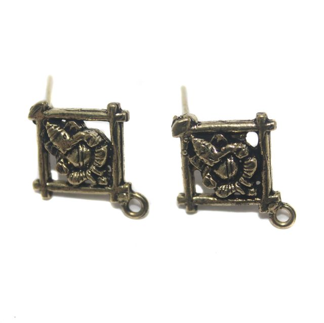 2 Pair German Silver Antique Golden Lord Ganesh Earring Component 20mm