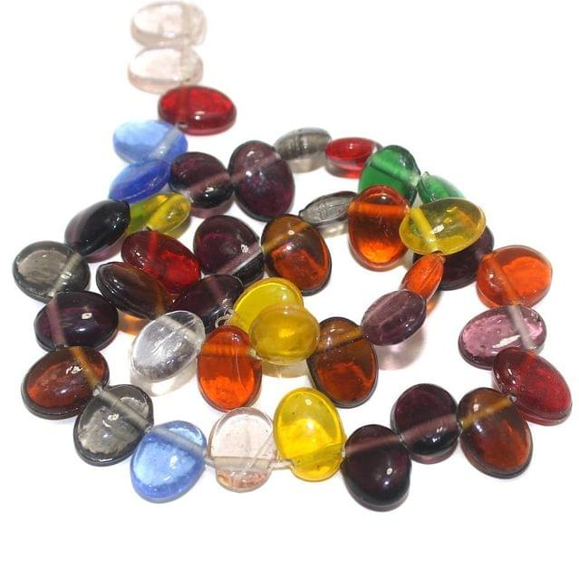 40+ Glass Flat Oval Beads Assorted 15x11mm