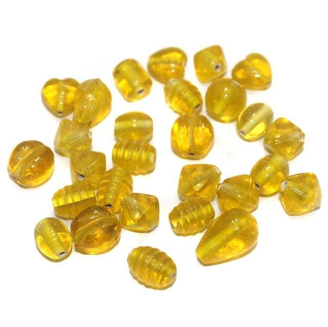 100+ Basic Glass Mix Beads Yellow 16x10mm