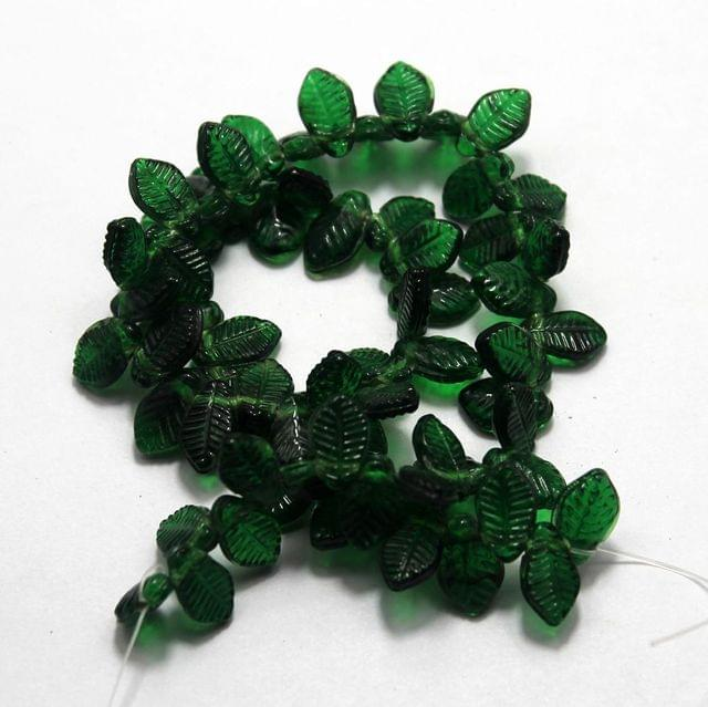 5 strings of Glass Leaf Beads Dark Green 14x8mm