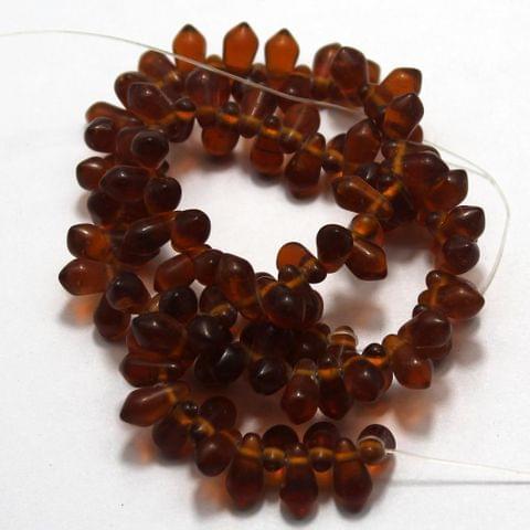 100+ Glass Drop Beads Topaz 12x6mm