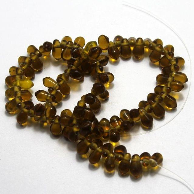 5 strings of Glass Drop Beads Topaz 12x6mm