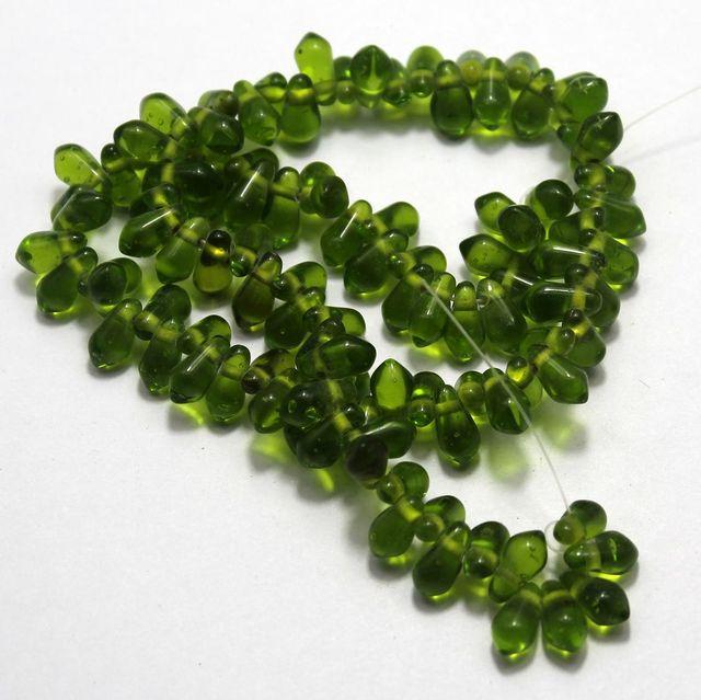 5 strings of Glass Drop Beads Peridot 12x6mm