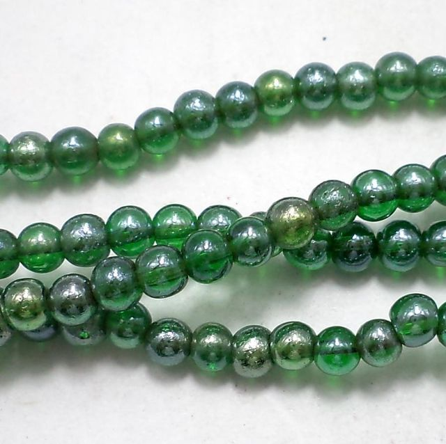 185+ Special Polish Glass Round Beads Green 4mm
