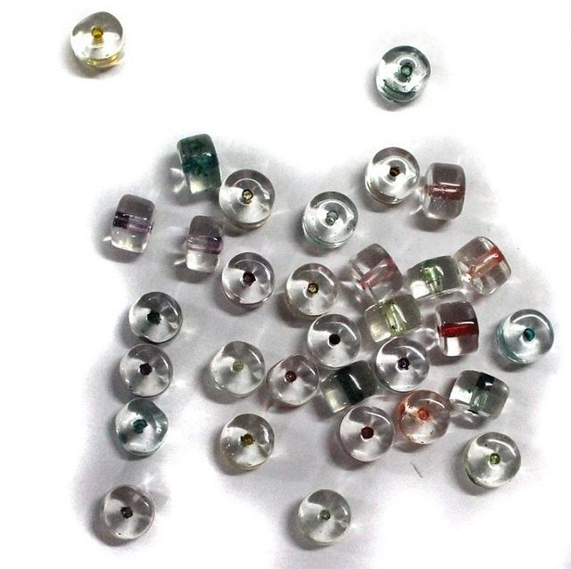 200 Glass Beads IC Tyre Assorted Color 6x8mm