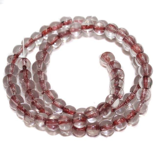 5 strings Glass Round Beads Inside Red Color 6mm
