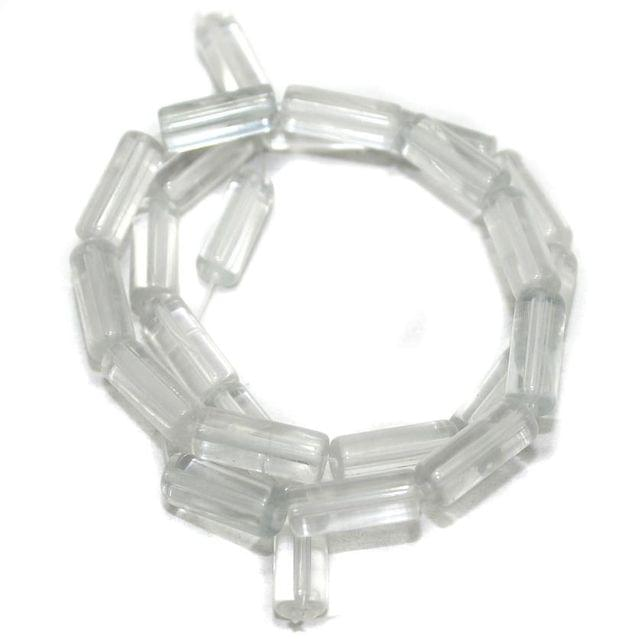 5 strings Glass Beads Tube Clear 6x15mm