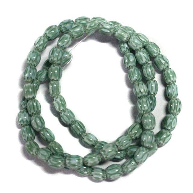 70+ Chevron Oval Beads Green 4x6mm