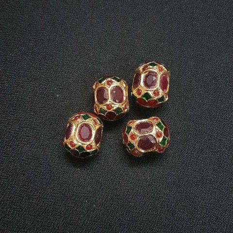 2 pcs, Traditional Jadau Dholak Shape Jewellery Making Beads, 14x18 mm