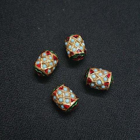 2 pcs, Traditional Jadau Dholak Shape Jewellery Making Beads, 10x15 mm