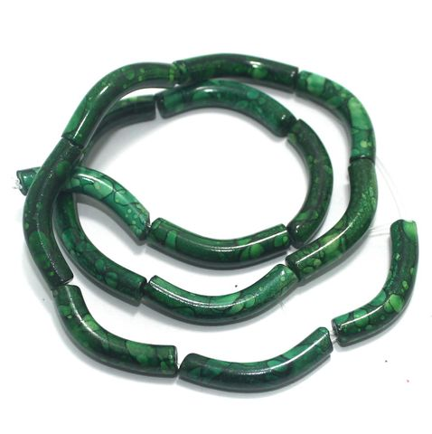 75 Pcs Glass Marble Twisty Tube Beads Green 30x5mm