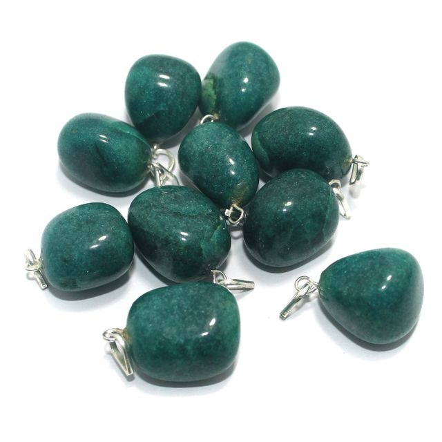 10 Pcs. Teal Diy Stone Pendants 21x19 mm