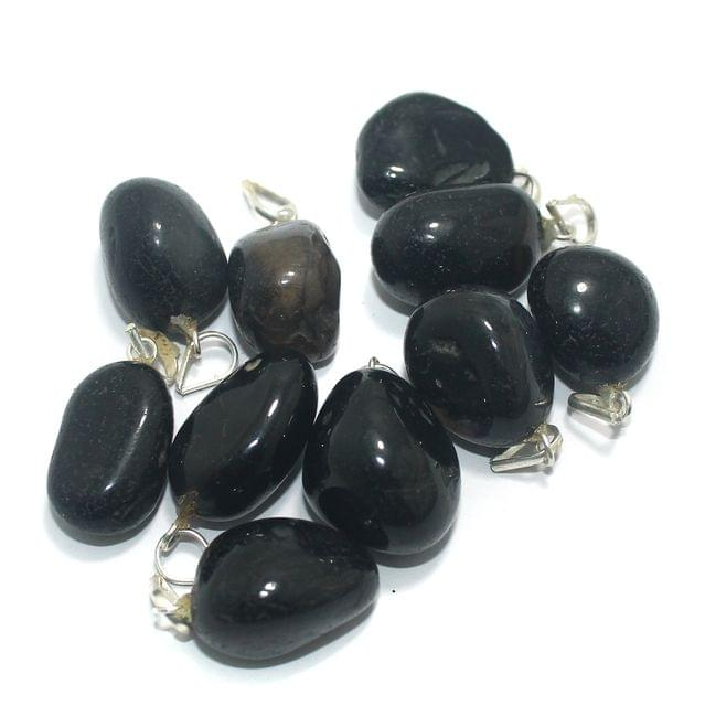 10 Pcs. Black Diy Stone Pendants 21x14 mm