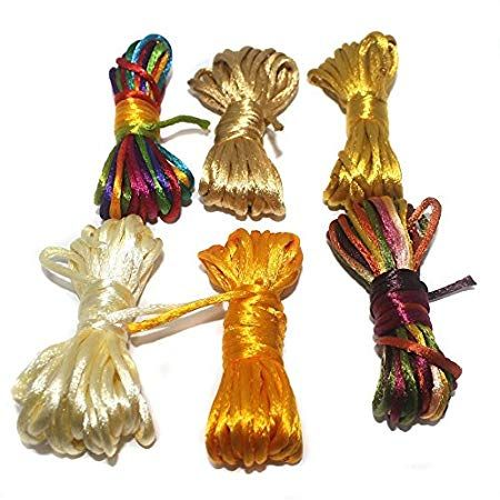 Rattail Cord Assorted For Jewellery Making & Craft Work, Size: 2 mm, 6 Colors Combo (5 Mtrs Each)