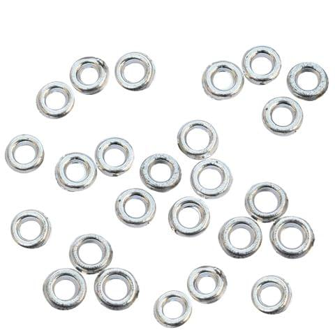 Small Acrylic Silver Ring Beads - 150 Pieces