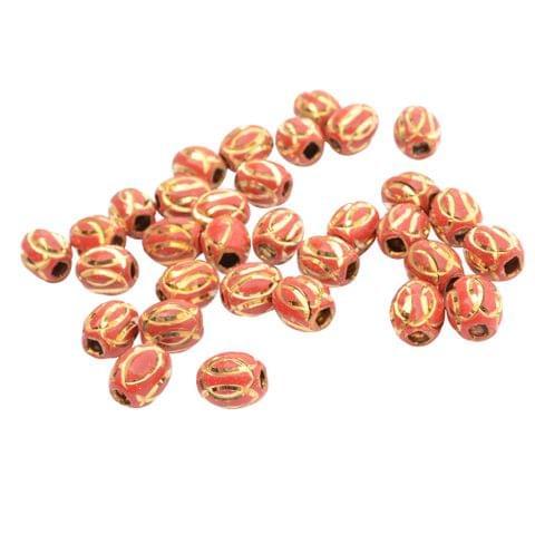 Red Metallic Gold Engraved Bead_35Pcs