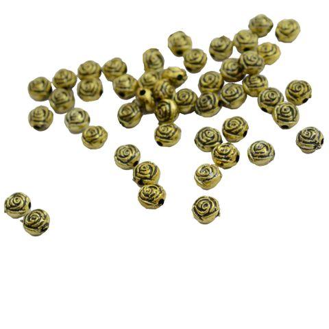 Rose engraved golden beads _100Pcs