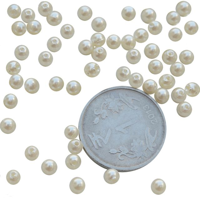 Small White  Pearl Beads- 200 Pcs