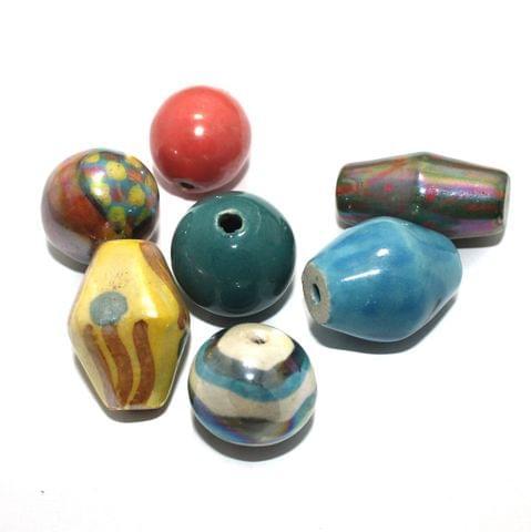 10 Pcs Ceramic Beads Assorted 37x25 mm