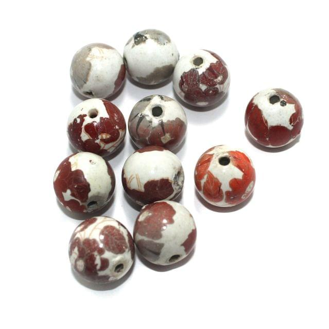 25 Pcs Ceramic Beads Assorted 21x21 mm