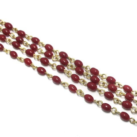 1 Mtr Designer Glass Beaded Chain Red 6x4mm