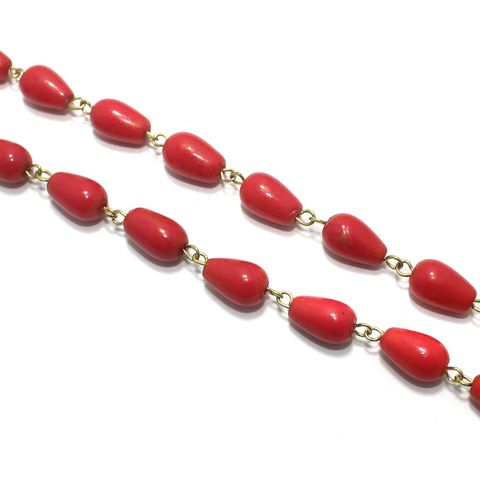 1 Mtr Designer Glass Beaded Chain Red 12x8mm
