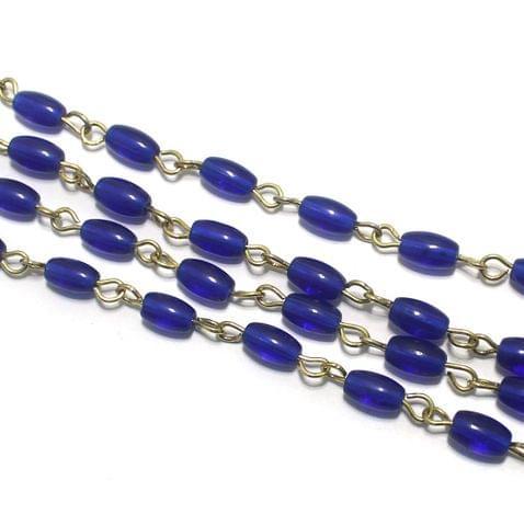 1 Mtr Designer Beaded Chain Blue 7x4mm