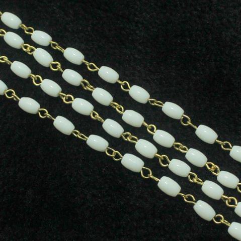 1 Mtr Designer Beaded Chain White 7x5mm