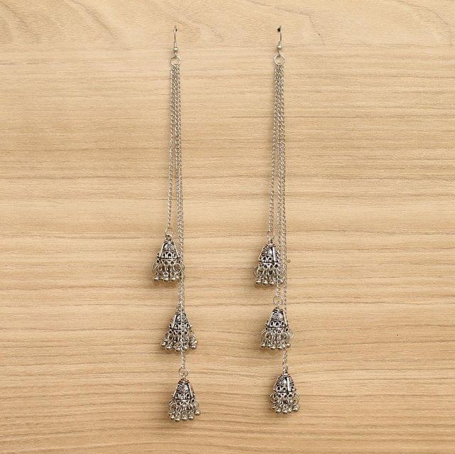 German Silver Long Jhumki Earrings