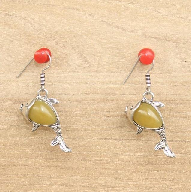 German Silver Stone Earrings Yellow