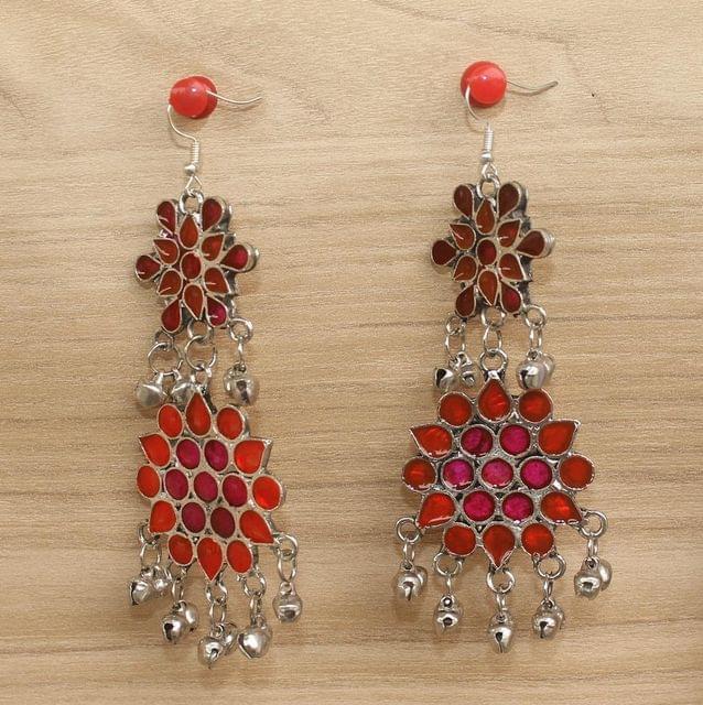 German Silver Afghani Earrings Red