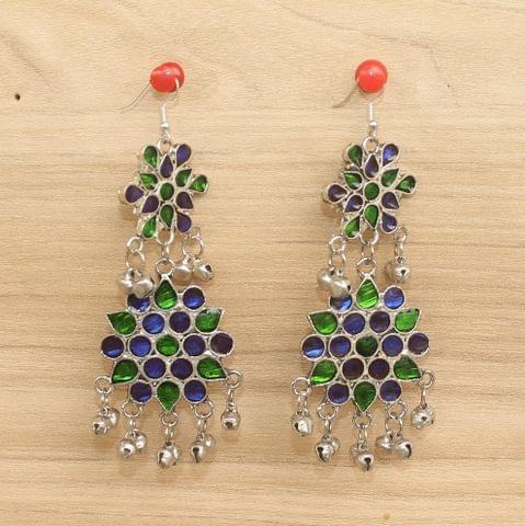 German Silver Afghani Earrings Multicolor